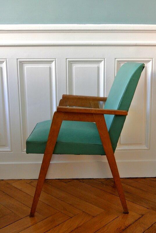 fauteuil années 50 vert (5)