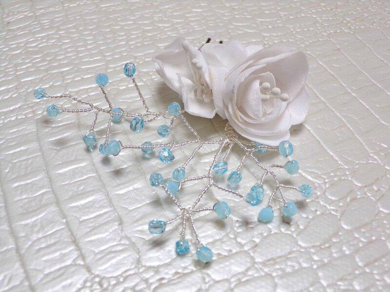 Peigne mariage fleur blanc turquoise