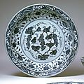 Plate with grape design, ming dynasty (1368-1644), reign of the xuande emperor (1426-1435)
