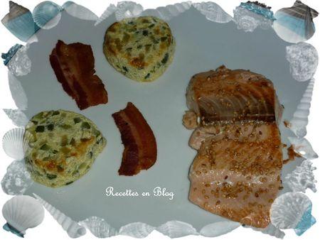 saumon grillé au sésame lard gratin de courgettes1