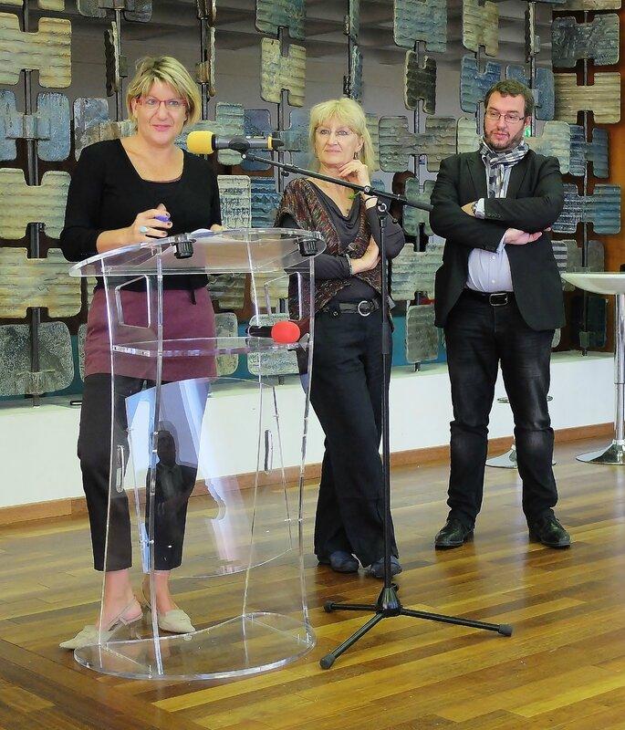 Anne Clayette, présidente de DMP, pendant son petit discours de remerciement aux élus de la Ville de Strasbourg