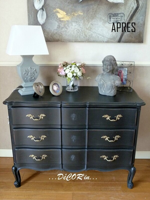 commode 18 me si cle relook e noire decor 39 in id es conseils. Black Bedroom Furniture Sets. Home Design Ideas