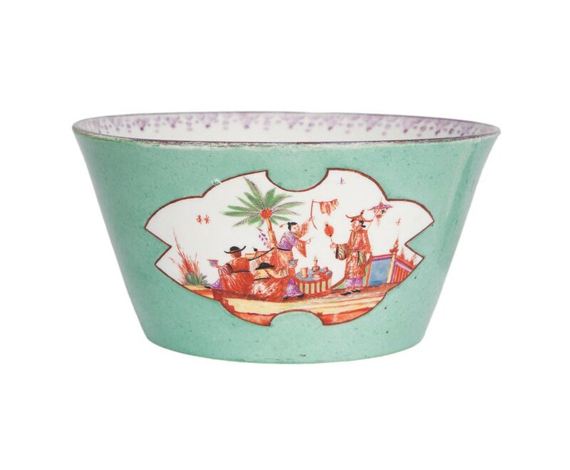 A bowl with rare sea green seladon ground and chinese figures with fans, Meissen, around 1730