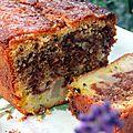 Cake marbré poire / citron, fruits de la passion et chocolat (sans gluten).