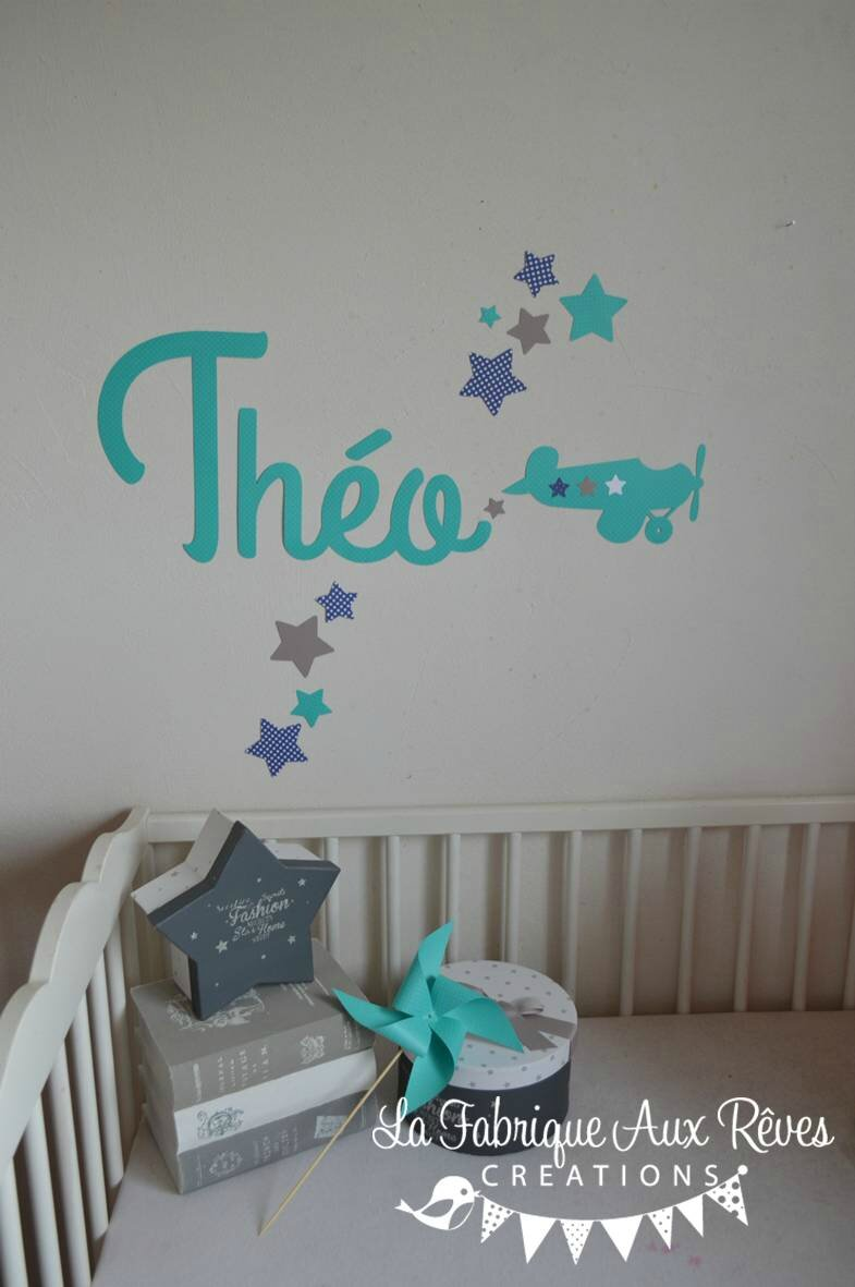 Stickers pr nom gar on avion toiles turquoise bleu marine for Stickers chambre bebe garcon