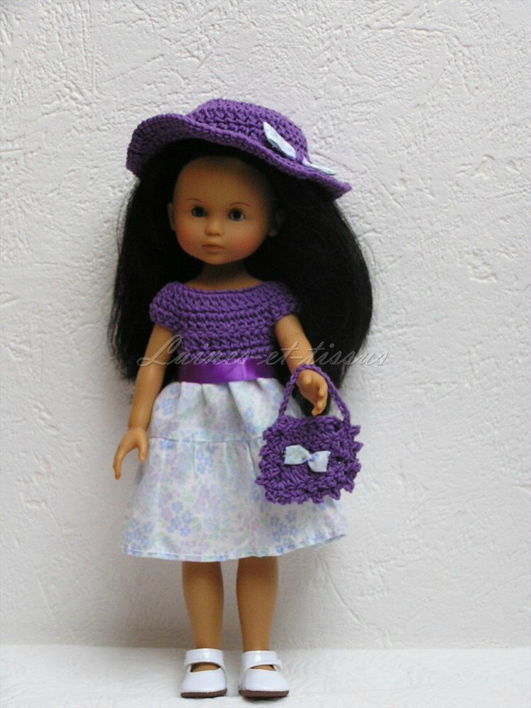 Robe en crochet et couture pour poupée Chérie ou Paola reina