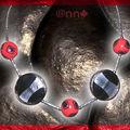 Collier Fimo maxi murano noir et gris et fimo rouge noir (N)
