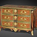Commode en premire partiede marqueterie d'caille rouge et laiton  monture de bronze dor d'poque Louis XIV