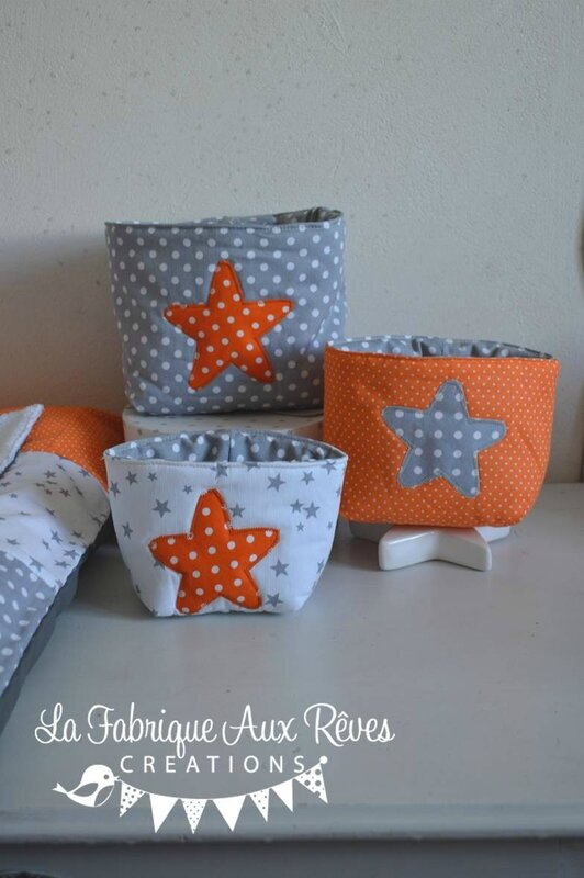 pochon rangement gigogne orange gris blanc étoiles renard