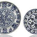 Two blue and white porcelain plates, china, 16th century