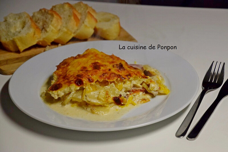 gratin de potiron, p de t, bacon et lardons (10)