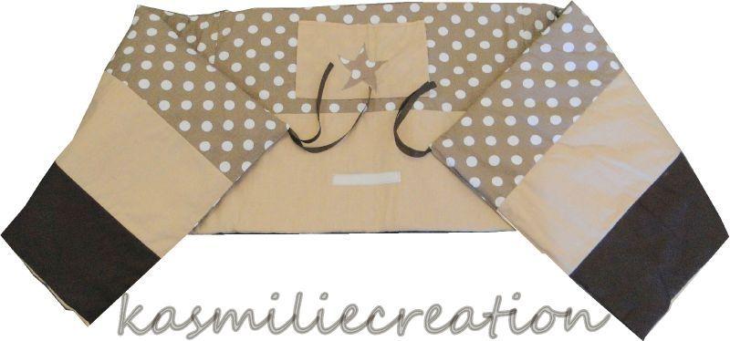 tour de lit mixte petits pois beige et chocolat. Black Bedroom Furniture Sets. Home Design Ideas