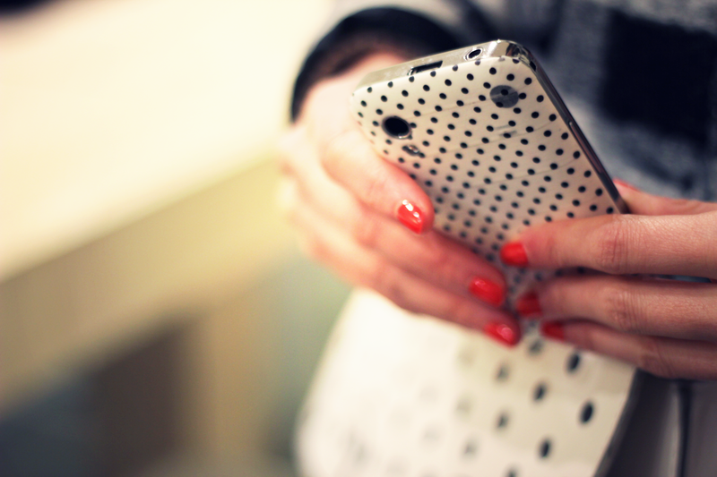 cute dots bag and iphone