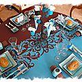 Table arabesque bleu turquoise