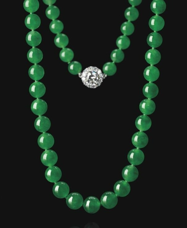 Exceptional Jadeite Bead and Diamond Necklace