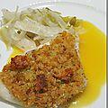 Filet de cabillaud en croûte d'agrumes, poireau et fenouil en julienne, beurre aux agrumes