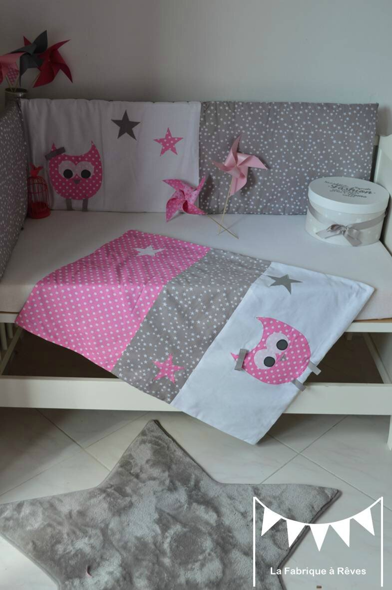 linge lit couverture polaire coton b b fille hibou chouette rose gris blanc toiles pois 3. Black Bedroom Furniture Sets. Home Design Ideas