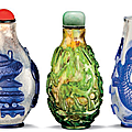 Three overlay glass snuff bottles, 19th century