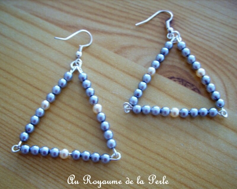 BO triangle gris et rose perle