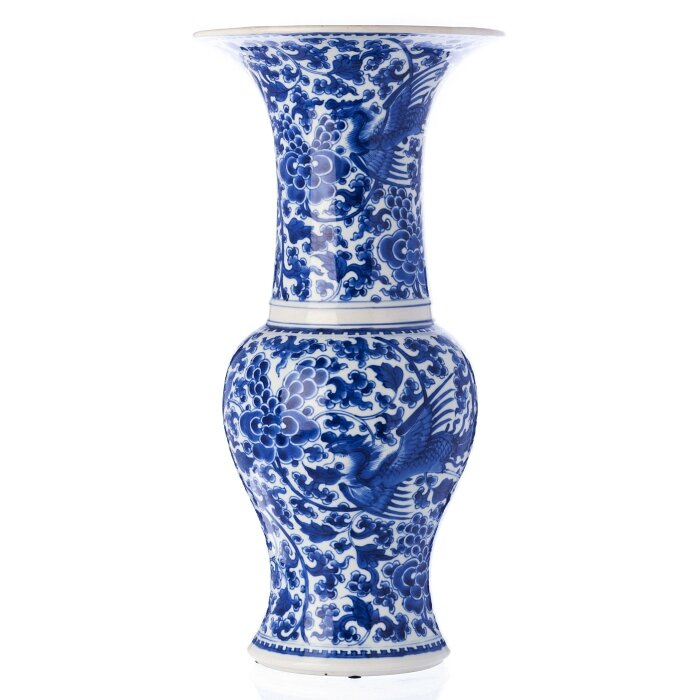 Blue and white 'phoenix' vase, Gu, China, Kangxi period