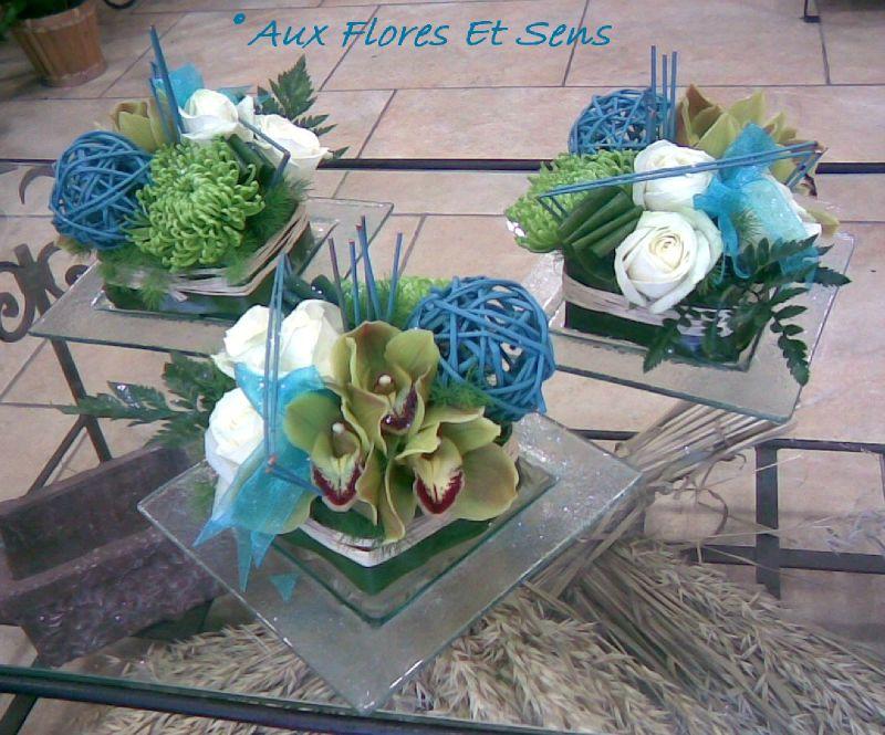 Centre de table carré verrine vert blanc et turquoise