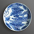 A blue and white porcelain dragon dish, Yongzheng six-character mark and of the period