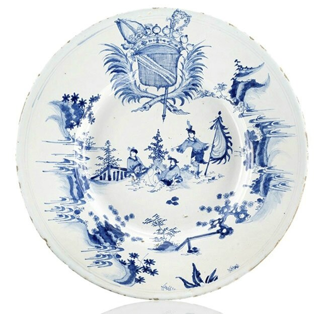 A big French faience round dish, Nevers, c. 1660-80