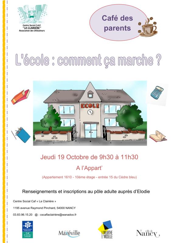 affiche café des parents l'école comment ça marche 19 octobre_01