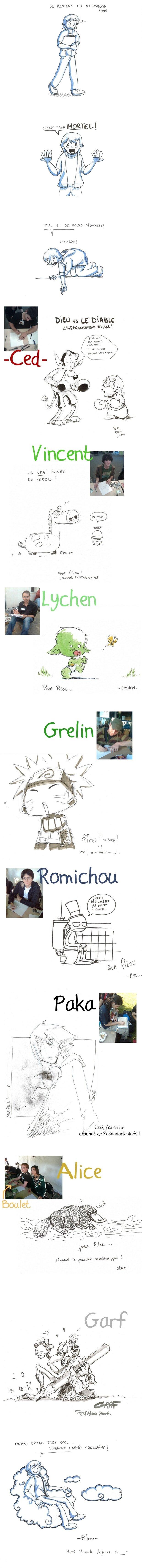 Festiblog 2008, dédicaces de Paka, Garf, Ced, Lychen, Garf, Grelin, vincent, Alice. Merci Yannick Lejeune !