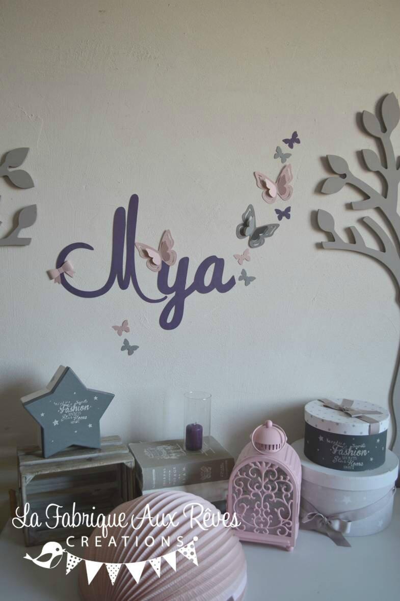 Stickers pr nom fille violet rose poudr gris papillons for Chambre violet et rose