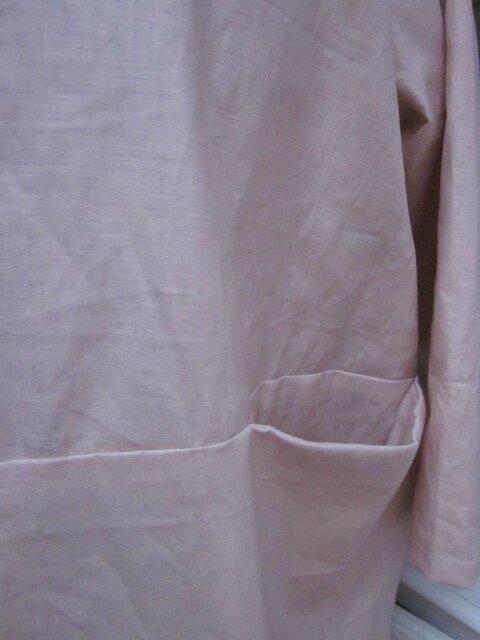 Manteau GISELE en lin glacé rose fané (6)