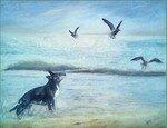 -2008- Le chien et les goélands -46x38-