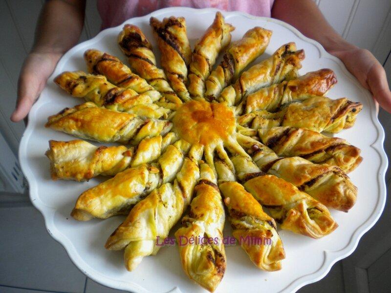 Soleil feuilleté pesto, pignons et parmesan pour l'apéro