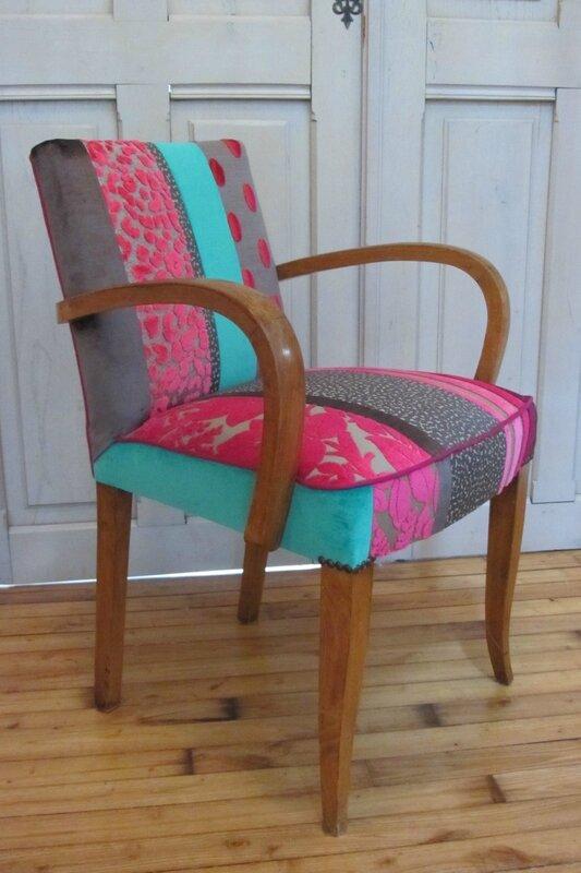 couverture en patchwork pour fauteuil tapissier à Brest