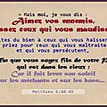 Aimez-vos ennemis, benissez-les(13)