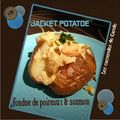Jacket potatoe with leek & salmon, Pomme de terre au four, saumon & fondue de poireaux
