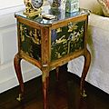 A louis xv-xvi transitional chinese and european black and gilt lacquer and tulipwood table à ouvrage circa 1765