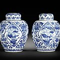 A pair of blue and white jars and covers, kangxi