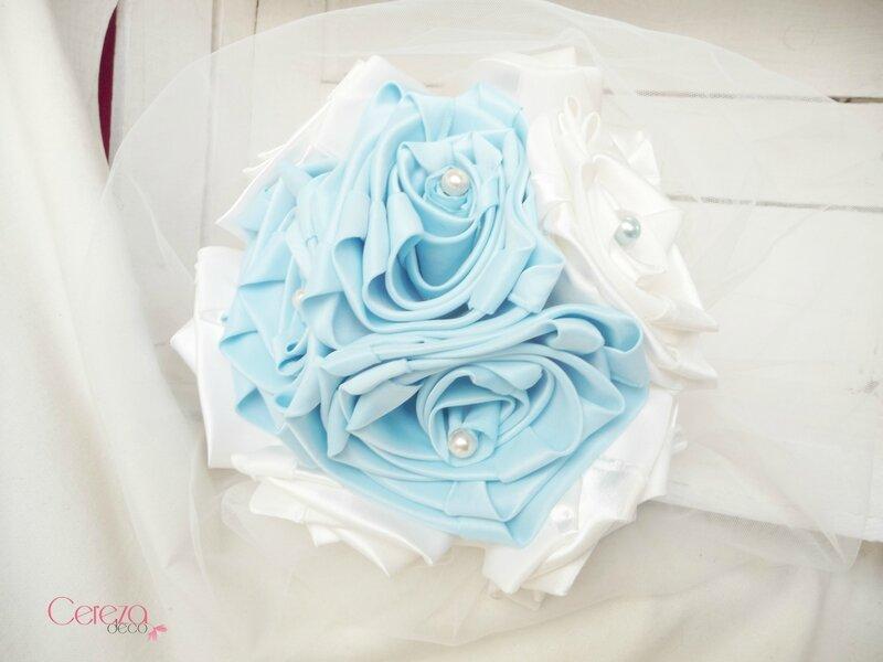 bouquet mariage bijou original romantique bleu ciel poudré ivoire cereza deco 1