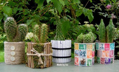 Recyclage bo te conserve minis cache pots pour cactus - Recyclage pot de peinture ...