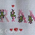Serviette grenouille - détail prénom