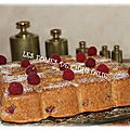 Gâteau jeannette pêches framboises