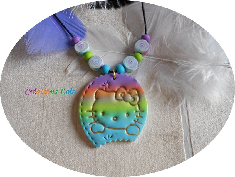 177-2 - Pendentif Hello Kitty multicolore