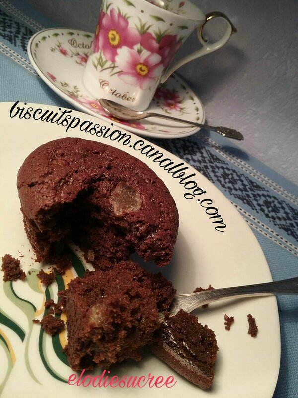 Financiers au chocolat et gingembre confit 070