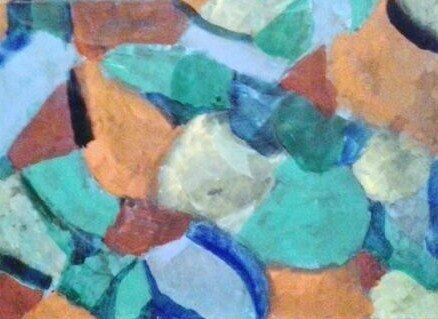 Peinture abstraite sur fond bleu 4