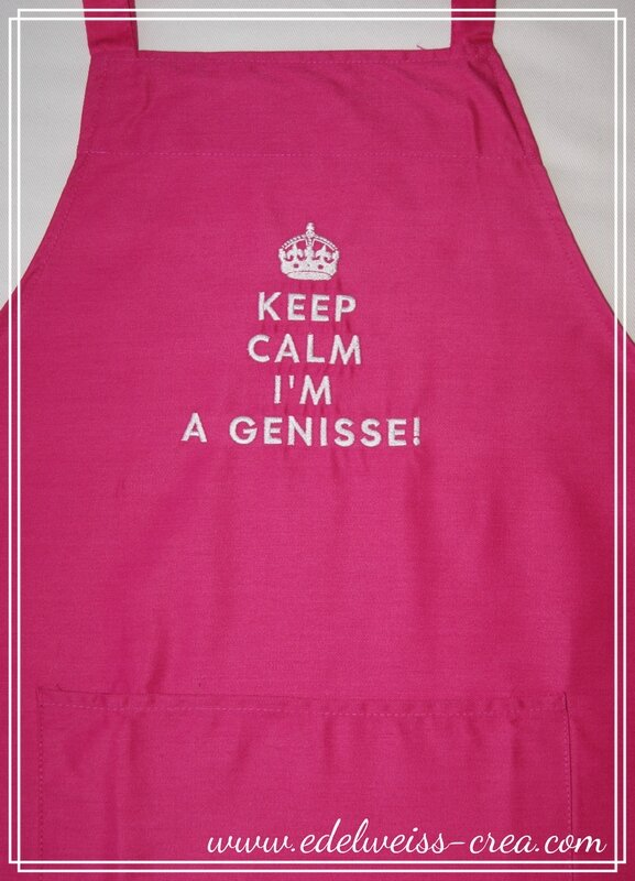 Tablier de cuisine rose fuchia - Keep Calm I am a genisse