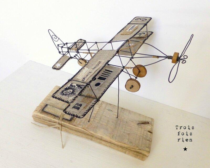 Avion fil de fer, wire plane, trois fois rien, fil de fer 1