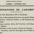 1913 04 octobre : nomination de l'abbé laurent