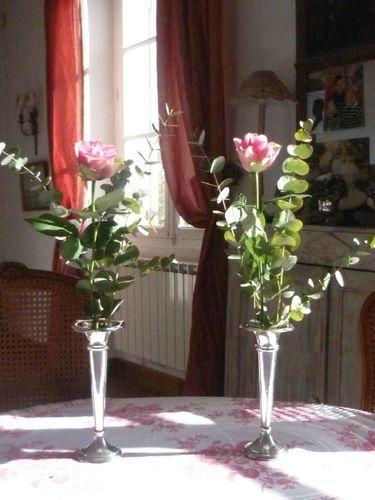 Jolie paire de soliflores en argent massif anglais