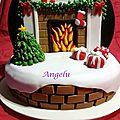 Gâteau cheminée noël